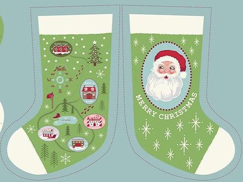 Green North Pole Stocking - Per stocking Panel