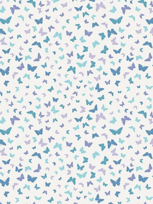 Butterflies on Blissful Blue - Per 0.5m