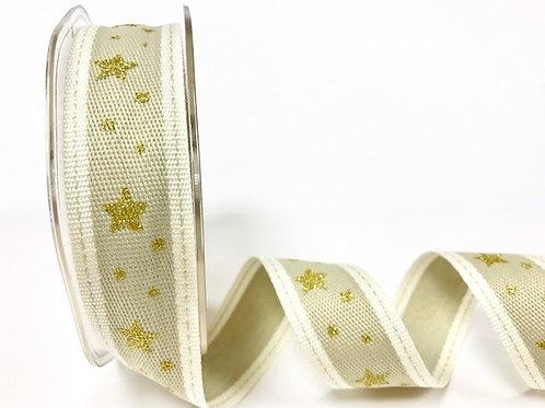25mm Gold Hessian Glittery Stars Ribbon - Per Metre