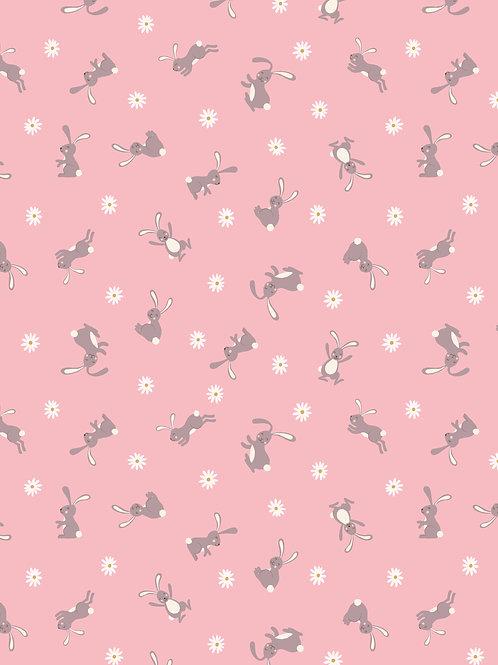 Bunny on pink per 0.5m - Bunny Hop