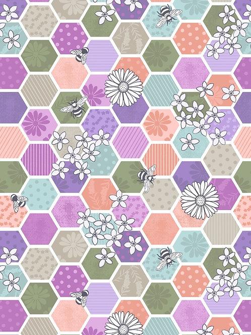 Bee Hexagons Green - Per 0.5m