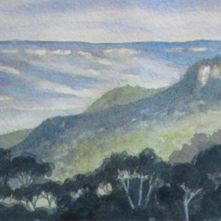 Jamieson valley from Leura 13 x 30 cm Watercolour 2020 $ 450