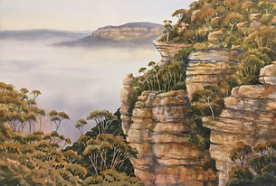 Morning Mist Leura , 38x 56 cm, Watercol