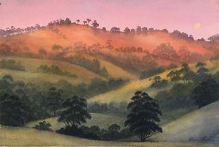 Coolongolook Hills, 38 x 56 cm, Watercol