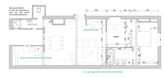 Plan coté architecte d'intérieur pour la rénovation d'un appartement aux Carmes à Toulouse.