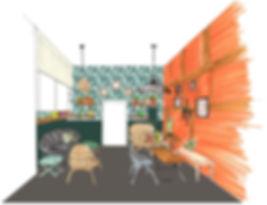 croquis pour aider le client à se projeter. rénovation, décoration, agencement, architecture d'intérieur à Toulouse dans un salon de thé