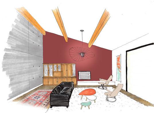 Croquis pour aider le cient à se projeter et voir le projet final. rénovation, décoration, agencement pour un appartement contemporain à Saint Jean près de Toulouse.