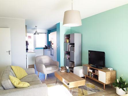 rénovation, décoration, architecture d'intérieur pour un saon à Balma près de Toulouse, choix des couleurs et des revêtement
