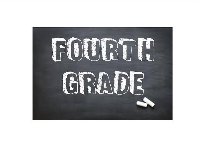"""Fourth Grade"" written on blackboard with chalk."