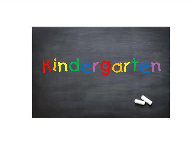 """""""Kingergarten"""" written on blackboard in rainbow lettering."""