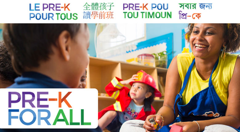Pre-K For All logo with teacher and students in background sitting in class.