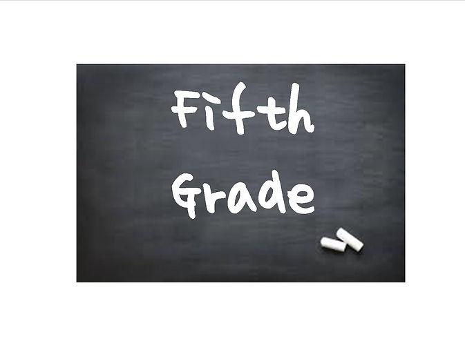 """""""Fifth Grade"""" written on blackboard with chalk."""