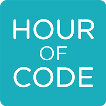 "Logo with words ""Hour of Code."""