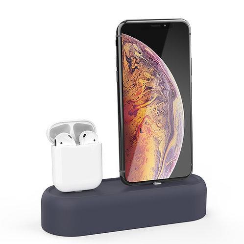 二合一苹果AirPods耳机苹果iphone手机充电硅胶底座
