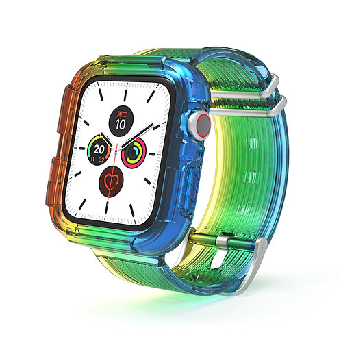 Apple Watch硅胶彩虹表带适用iwatch5/4/3/2/1