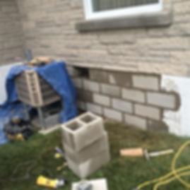 Restauration de fondation en bloc de béton