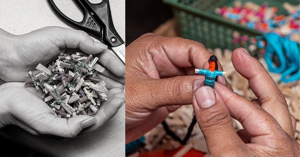 A Mayan artisan handcrafting a worry doll