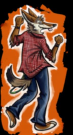 anthropomorphic dancing coyote