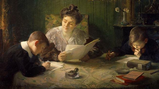 """Tableau """"le devoir"""" - Henri Jamet (1858 - 1940)"""