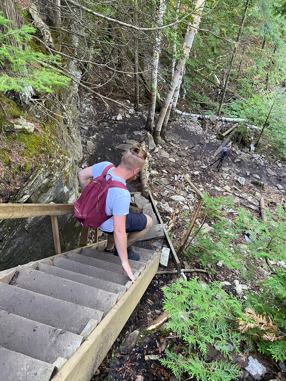 Danny hiking the cup and saucer trail on Manitoulin Island. It is a moderate hike.