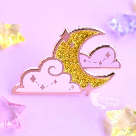 Glitter Moon Enamel Pin