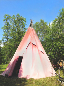 Napakettu's teepee for visitors