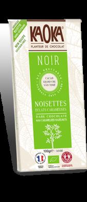 CHOCOLAT NOIR 66% ÉCLATS DE NOISETTES  CARAMÉLISÉES GAMME DÉGUSTATION 100 gr