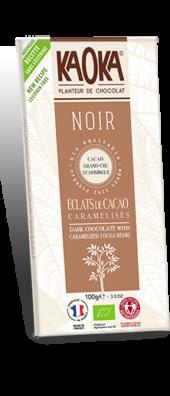 CHOCOLAT NOIR 70% ÉCLATS DE CACAO CARAMÉLISÉS GAMME DÉGUSTATION 100 gr
