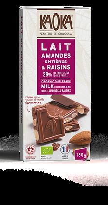 CHOCOLAT AU LAIT 25% AMANDES ENTIÈRES & RAISINS 180 gr