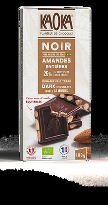 CHOCOLAT NOIR 66% AMANDES ENTIÈRES 180 gr