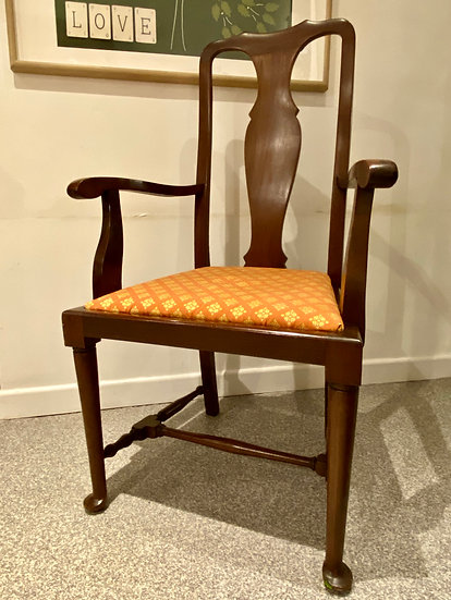 QUEEN ANNE STYLE CARVER CHAIR
