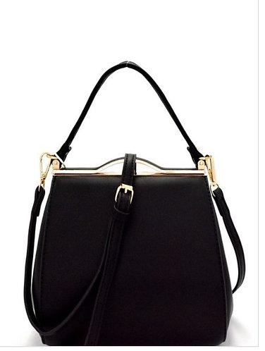 Metal Frame Medium Satchel Shoulder Bag