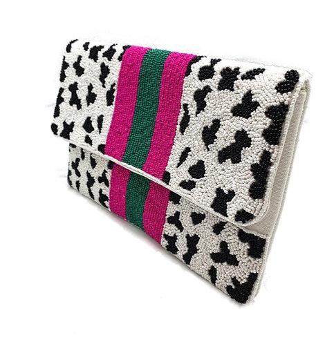 Cow Print Pattern Beaded Clutch Bag