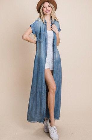Short sleeve chambray maxi dress