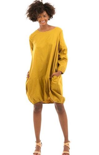 Long Sleeve Cotton Bubble Mini Dress w/ Pockets