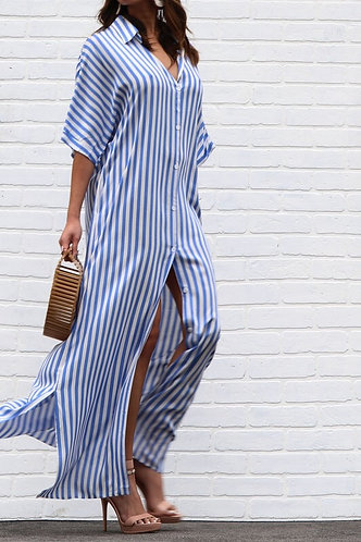 BUTTON DOWN SHIRT DRESS  WITH POCKET