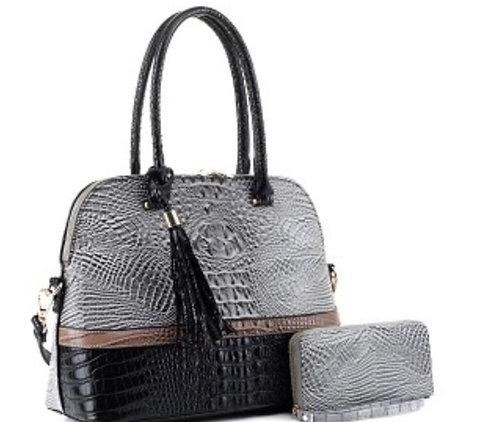 Block Faux Crocodile Print 2-Way Dome Tassel Satchel Wallet SET
