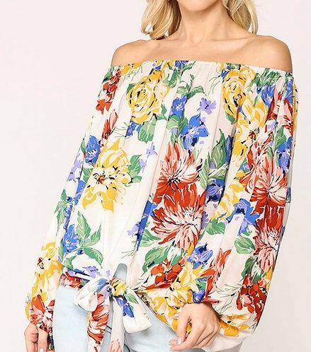 Floral Print Off Shoulder Puff Sleeve Top