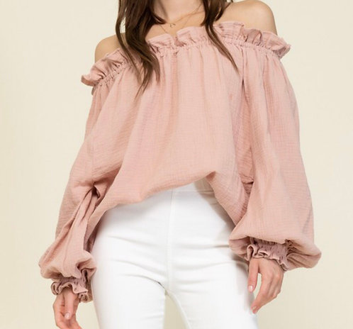 COTTON OFF THE SHOULDER CASUAL TOP