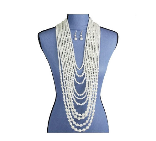 Multi-Layered Cream Pearl Necklace Set