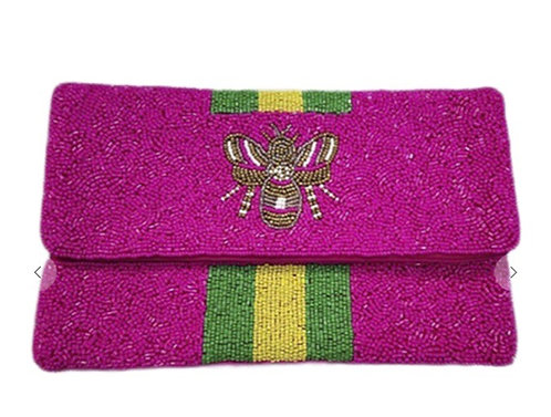 BEE-You Striped Beaded Clutch