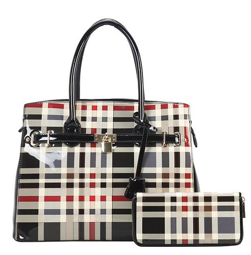 Plaid Fashion Handbag with Wallet