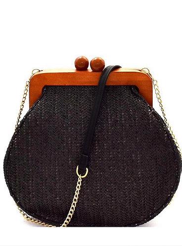 Woven Wooden Handle Shoulder Bag