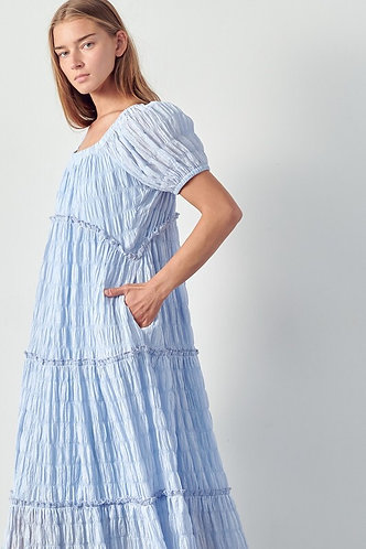OFF THE SHOULDER MAXI TIERED WITH RUFFLED DRESS