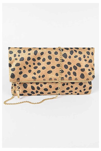 Faux Leopard Skin Folded Clutch