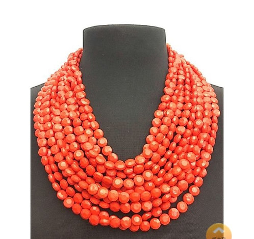 Multi-Layered Facet Beaded Necklace
