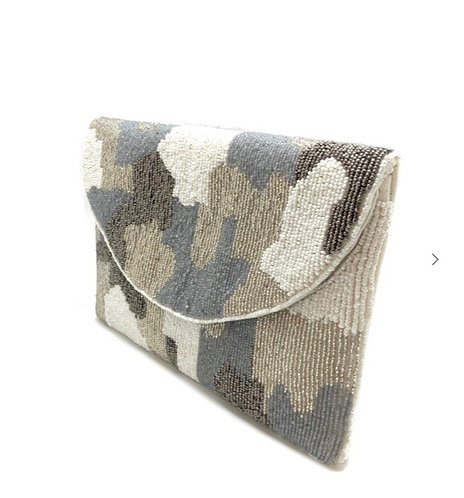 Grey Camo Beaded Clutch Bag