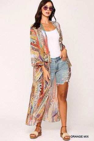 Mix-Print Open Front Maxi Kimono