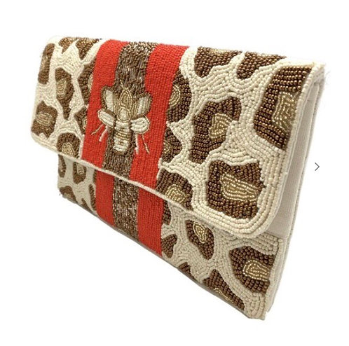 BEE Stripes Leopard Beaded Bag