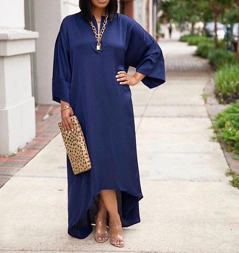 Satin Kimono Sleeves Tunic Maxi Dress